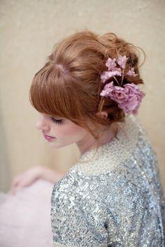 Flower comb silk hair flower bridal hair comb vintage
