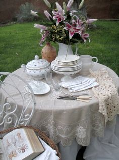 What a beautiful use for linens...tea party time!