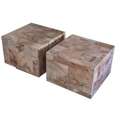 Pair Of Rose Marble Cube Side Tables
