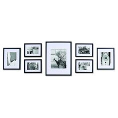 Gallery Perfect Gallery Wall Kit Photo Decorative Art Prints & Hanging Template Picture Frame Set, Multi Size - x x x Black, 7 Piece