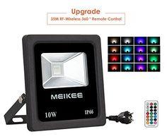 MEIKEE Projecteur led RGB 10w/30w/50w: RGB Multicolore: Ce rgb projecteur led avec 16 couleurs, 4 modes et 6 choix de lumières differentes…