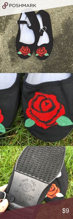 rose embroidered Mary Jane flats Brand new black Mary Jane flats with rose embroidery from Urban Outfitters cotton upper cotton lining cotton insole rubber outsole these do run a bit small, maybe more like an 8.5 Urban Outfitters Shoes Flats & Loafers