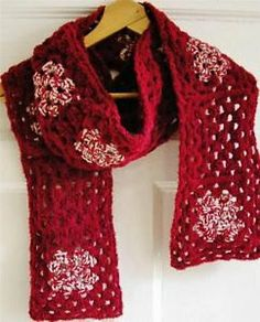 Dark Red and Cream, handmade crocheted scarf, granny squares, made in Ireland