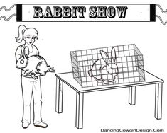 girl with rabbit coloring page 4-h or FFA coloring pages