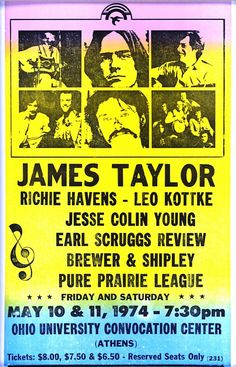 James Taylor X Vintage Style Concert Poster Pop Posters, Band Posters, Music Posters, Poster Prints, Event Posters, Gig Poster, Rock N Roll Music, Rock And Roll, Hippie Posters