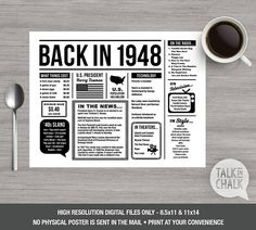 Back In 1948 PRINTABLE Placemat  70th Birthday Decoration
