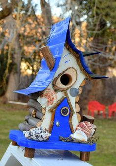 bird house Birdhouse beach decor Nautical birdhouse in