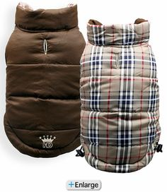 Brown Plaid Reversible Puffer Vest by Hip Doggie. These vests are great for dogs with heart conditions that need extra chest protection from the cold during winter.