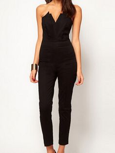 Black V neck Slim Strapless Jumpsuit