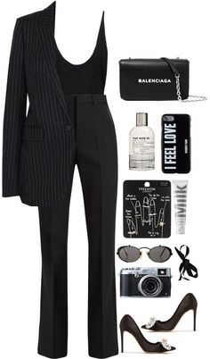 All Black - Mode Frauen - Roupas Ideias Komplette Outfits, Office Outfits, Polyvore Outfits, Classy Outfits, Stylish Outfits, Fashion Outfits, Winter Outfits, Batman Outfits, School Outfits