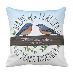 sixtieth Wedding ceremony Anniversary, Bluebirds of a Feather Throw Pillow. >>> Find out even more at the picture link