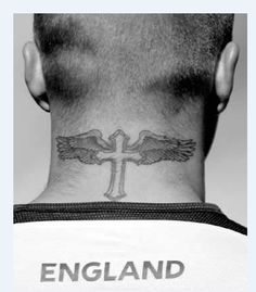 Temporary tattoos neck back body cross wings men makeup fake spray transfer sexy tattoo stickers waterproof Beckham style #Affiliate