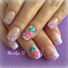 Spring Nail Art, Spring Nails, Flower Nail Art, Hand Care, Nail Arts, White Nails, Pretty Nails, Nail Art Designs, Nail Ideas