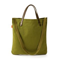 Olive Canvas Tote Bag with Leather Handles | Totes + Bags | Poppin