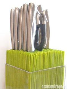 "DIY Knife ""Block"" -- Store knives in a container filled with spaghetti noodles! Can be dyed any color, and will hold any size/shape knife."