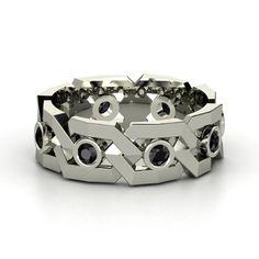 Platinum Ring with Black Diamond   Brilliant Links Band   Gemvara