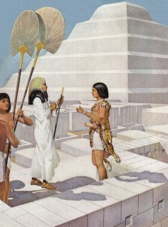 Imhotep, the architect of the Step Pyramid and ancient Egyptians. Life In Ancient Egypt, Ancient Egypt History, Ancient Near East, Old Egypt, Ancient Aliens, Ancient Egyptian Architecture, Tableaux Vivants, Sphinx, Step Pyramid