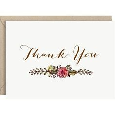Our vintage inspired watercolor botanical design is paired with delicate hand scripted text. Lovely for your notes of thanks, and wonderful to use a bridal shower or wedding thank you notes.<br><br>10