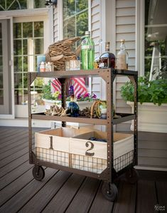Years of spilled paint, grime and grease couldn't stop this industrial utility cart makeover! It took some effort, but our deck now has a new bar cart! Cleaning Cart, Metal Cart, Library Cart, Rustic Diy, Industrial Cart, Vintage Cart, Utility Cart, Furniture Makeover, Diy Farmhouse Decor