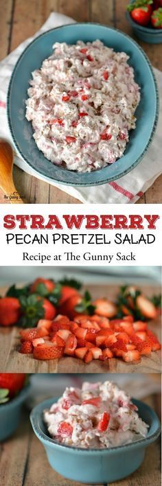 Strawberry Pecan Pretzel Salad is a MUST at all of our holiday celebrations. Try sharing this recipe at your Easter dinner!This Strawberry Pecan Pretzel Salad is a MUST at all of our holiday celebrations. Try sharing this recipe at your Easter dinner! Strawberry Recipes, Fruit Recipes, Salad Recipes, Dessert Recipes, Cooking Recipes, Quick Dessert, Cooking Tips, Strawberry Salads, Strawberry Pretzel Salad