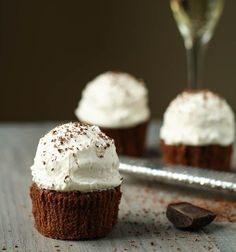 Cupcake Recipes : Chocolate Ganache Cupcakes with Italian Meringue Buttercream Frosting