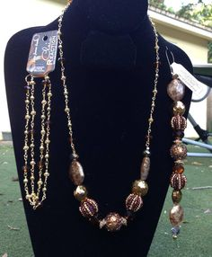 Create a beautiful necklace like this one using a Jesse James Beads strand and beaded chain. Both on sale this weekend at JoAnn Stores!  Happy Friday everyone!