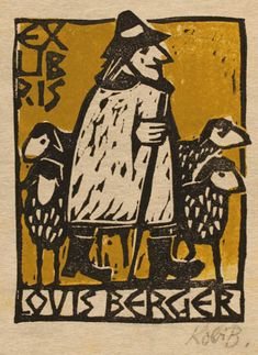 Exlibris by Kobi Baumgartner from Schwitzerland for Louis Berger - Working - Linocut Ex Libris, Arte Popular, Wood Engraving, Art Graphique, Tampons, Letterpress, Printmaking, Illustration, Paper Art