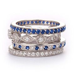 SusanB.Designs Simulated Diamond and Sapphire Stackable Bands Set of 4 Rings Sterling Silver *** Check out the image by visiting the link.
