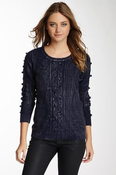 Antique Wash Cable Knit Sweater by Olive & Oak on @HauteLook