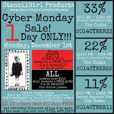 Our BIGGEST sale of the YEAR! CYBER Monday! www.stencilgirlproducts.com