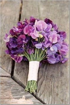 The mothers will carry small posies of purple sweet peas wrapped in gray ribbon with the stems showing.