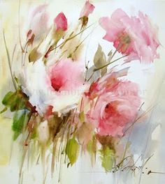 Roses 10 / Rosas painting by artist Fabio Cembranelli Watercolour Painting, Watercolor Flowers, Painting & Drawing, Watercolors, Pinturas Em Tom Pastel, Art Aquarelle, Watercolor Pictures, Arte Floral, Beautiful Paintings