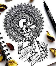 Doodle Art Drawing, Dark Art Drawings, Zentangle Drawings, Mandala Drawing, Art Drawings Sketches, Mandala Doodle, Mandala Art Lesson, Mandala Artwork, Black And White Art Drawing