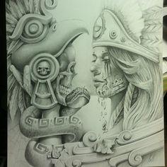 All Aztec Chicano Art | Arte Aztec Drawings | ChicanoArt.net
