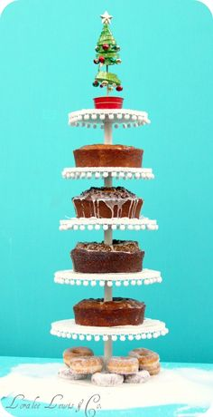 Who wouldn't on of these fabulous cake tower displays at their holiday event or any party!!!  Wood rounds, a big sturdy dowel, little paint, some pom-pom fringe, and a little elbow grease is all you'll need.  Then go enjoy some cake cuz ya done good!