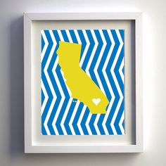 UCLA Blue and Yellow State 8x10 Print. $12.00, via Etsy.