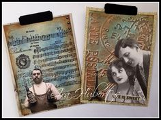 Distress ink, male tags for accordeon album
