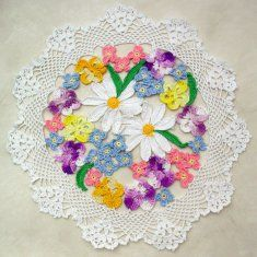 PA652 Flower Bouquet Doily Crochet Pattern.   Move up with your crochet doily skills by working with multiple colors. Flower Bouquet Doily Pattern  is sure to be one of the most gorgeous doilies you could ever make. This antique crochet pattern has been updated to ensure success with crocheting this delicate pattern.