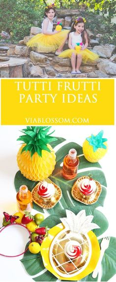 The coolest Fruity Party Decorations for your summer parties!!  Perfect for a Tutti Frutti themed party or a Pineapple party!