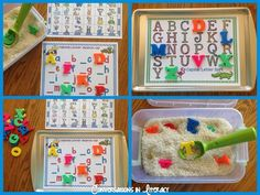 Teaching ABCs$ with cookie sheets- so many different activities, my kids love these!