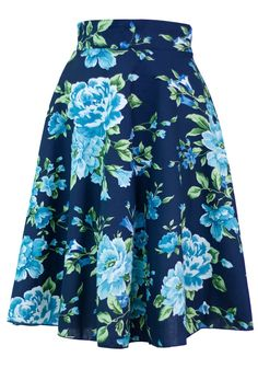 Sidecca Classic Retro Peony Garden Floral A-Line Skirt -Navy-Small at Amazon Women's Clothing store: