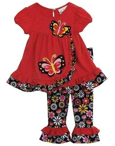 ADORABLE outfit for fall! ~ Rare Editions coral & navy BUTTERFLY floral leggings set (girls sz.12m-6x) ~ Color Me Happy Boutique