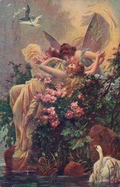 Hans Zatzka  1859 - 1945  Vienna, Austria Beautiful Paintings, Romantic Paintings, Classic Paintings, Lesbian Art, Pre Raphaelite, Classical Art, Vintage Artwork, Old Art, Cherub
