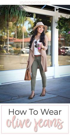 to wear olive green skinny jeans for fall Ways to wear olive colored jeans!Ways to wear olive colored jeans! Summer Work Outfits, Spring Outfits, Olive Green Pants Outfit, Olive Dress, Green Leggings, Colored Jeans Outfits, Jean Outfits, Outfits With Green Jeans, Jeans Outfit For Work