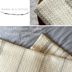 """Mod Heirloom Blanket. Beautiful 'granite' stitch. Pattern is free. Level Easy.  37"""" W X 51"""" L after blocked. Also available for pdf download on Etsy. ©2016 Jessica, MamaInAStitch blog."""