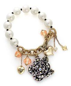 Betsey Johnson Bracelet, Gold Tone Pearl Flower Half Stretch Bracelet