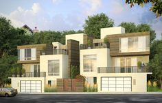 Modern housing concept, rendered in our photo-real style.