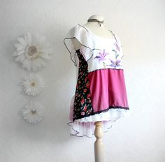 Bohemian Tops   Women's White Top Bohemian Clothing Upcycled Shirt Fuchsia Purple ...