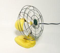 Vintage YELLOW Fan small electric table top fan by ohiopicker