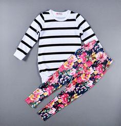 2016 младенцев детская одежда ( полосатый майка + цветок леггинсы брюки ) детей 2 шт. комплект мода девушки одежду полный рукав пальто купить на AliExpress